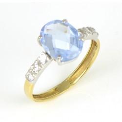 Sortija oro amarillo con piedra azul