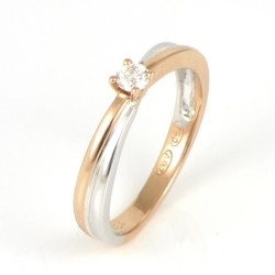 ANILLO ORO BICOLOR 18 KTS CON DIAMANTE