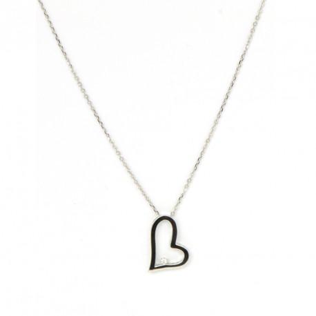 Gargantilla oro blanco 18 kts corazón con diamante.