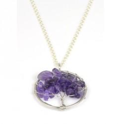 Colgante de plata rodiada con piedras lilas