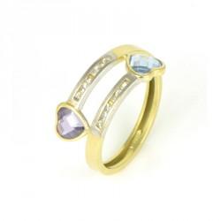 Sortija oro amarillo con piedra azul y lila
