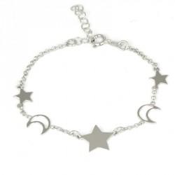 Pulsera de plata estrellas y lunas