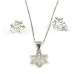 Pendientes  de plata flores zirconitas.
