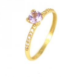 Anillo oro 18 kilates piedra lila