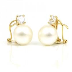 Pendientes oro 18 kts con perla y circonita