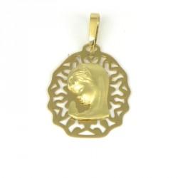 Medalla de oro 18 kts virgen niña