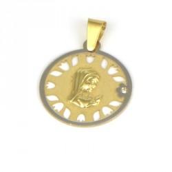 Medalla de oro 18 kts virgen niña diamante