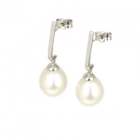 Pendientes oro 18 kts blanco alargados perla