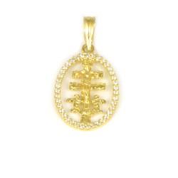 Colgante de oro amarillo de18 kts cruz de caravaca