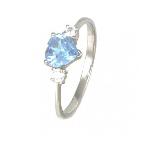 9422d0d1dcb3 Anillo oro blanco 18 kilates topacio azul corazón