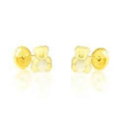 Pendientes oro bicolor 18 kts  oso