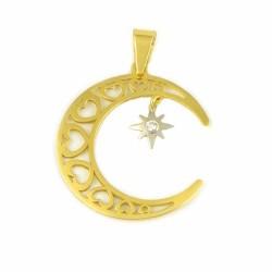 Colgante luna y estrella de oro bicolor de 18 kts
