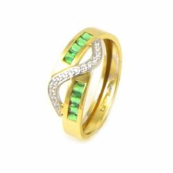 Anillo oro bicolor 18 kilates esmeralda/circonitas