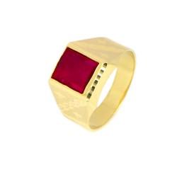 Anillo oro  18 kilates piedra roja