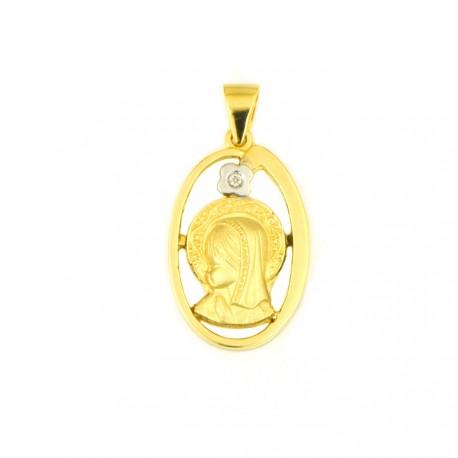 03846b0ba541 medalla-de-oro-18-kts-virgen-nina-diamante