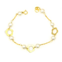 Pulsera oro amarillo 18 kts  flores perlas