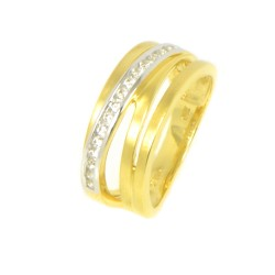 ANILLO ORO BICOLOR 18 KTS CON DIAMANTES