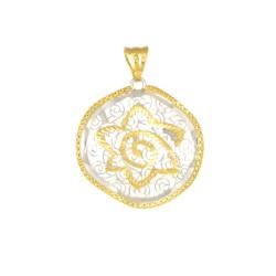 Colgante mandala de oro bicolor de18 kts