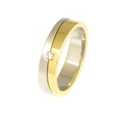 Alianza de oro 18 kts bicolor con diamante