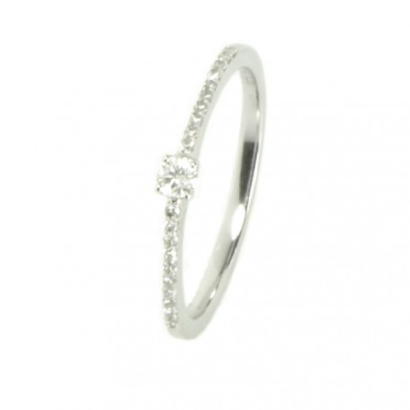 Anillo oro blanco 18 kilates y diamantes