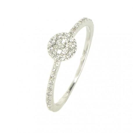 Anillo oro blanco 18 kilates y diamantes