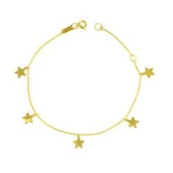 Pulsera oro 18 kts estrellas mujer