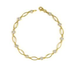 Pulsera oro amarillo 18 kts circonitas mujer