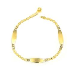 Pulsera oro amarillo 18 kts placas mujer