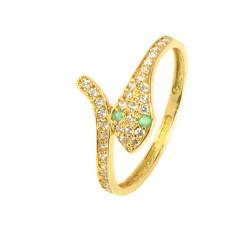 Anillo oro amarillo serpiente 18 kilates circonitas esmeraldas