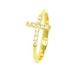 Anillo oro amarillo 18 kilates cruz circonitas