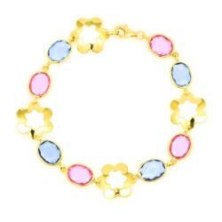Pulsera oro 18 kts mujer piedras multicolor