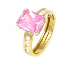 Sortija oro amarillo con piedra rosa