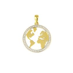 Colgante mapa del mundo de oro bicolor de18 kts