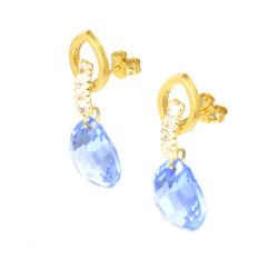 Pendientes oro 18 kts piedra azul