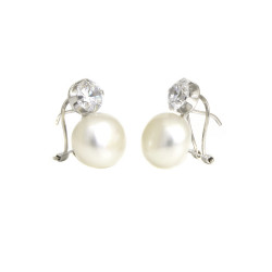 Pendientes oro blanco 18 kts con perla y circonita