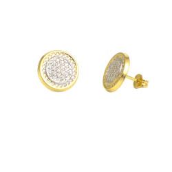 Pendientes oro bicolor 18 kts círculo circonitas