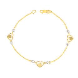 Pulsera oro 18 kts bicolor mujer corazones
