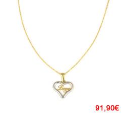 Gargantilla oro bicolor 18kts corazón love
