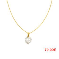 Colgante de oro 18 kts corazón bicolor