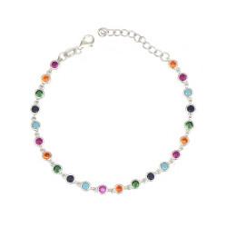 Pulsera de plata circonitas multicolor