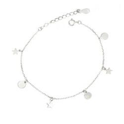 Pulsera  de plata con círculos y estrellas