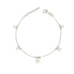 Pulsera  de plata con circonitas y estrella