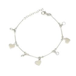 Pulsera  de plata con circonitas y corazones