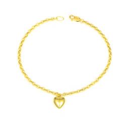 Pulsera oro 18 kts con corazón