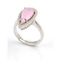 Anillo plata piedra rosa
