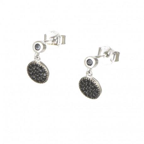 Pendientes de plata con circonitas negras