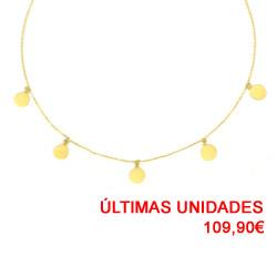 Gargantilla 5 círculos oro amarillo 18kts