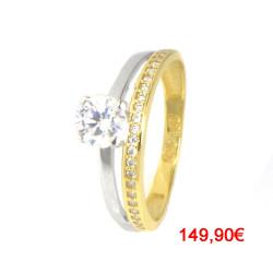 Anillo oro 18 kilates bicolor con circonitas