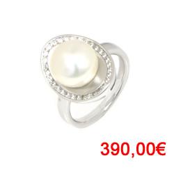 Anillo oro blanco de 18 kilates perla
