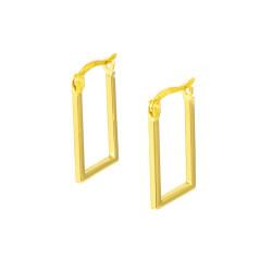 Pendientes aros oro 18 kts rectangulares